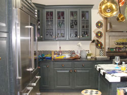Cabinets with midnight green crackle finish