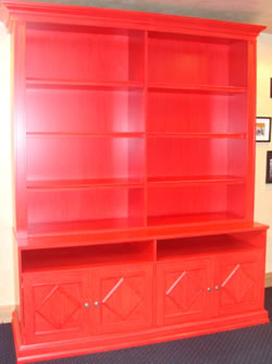 Glazed, red striated wall unit (S48).